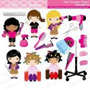 cute girls hair dresser clipart