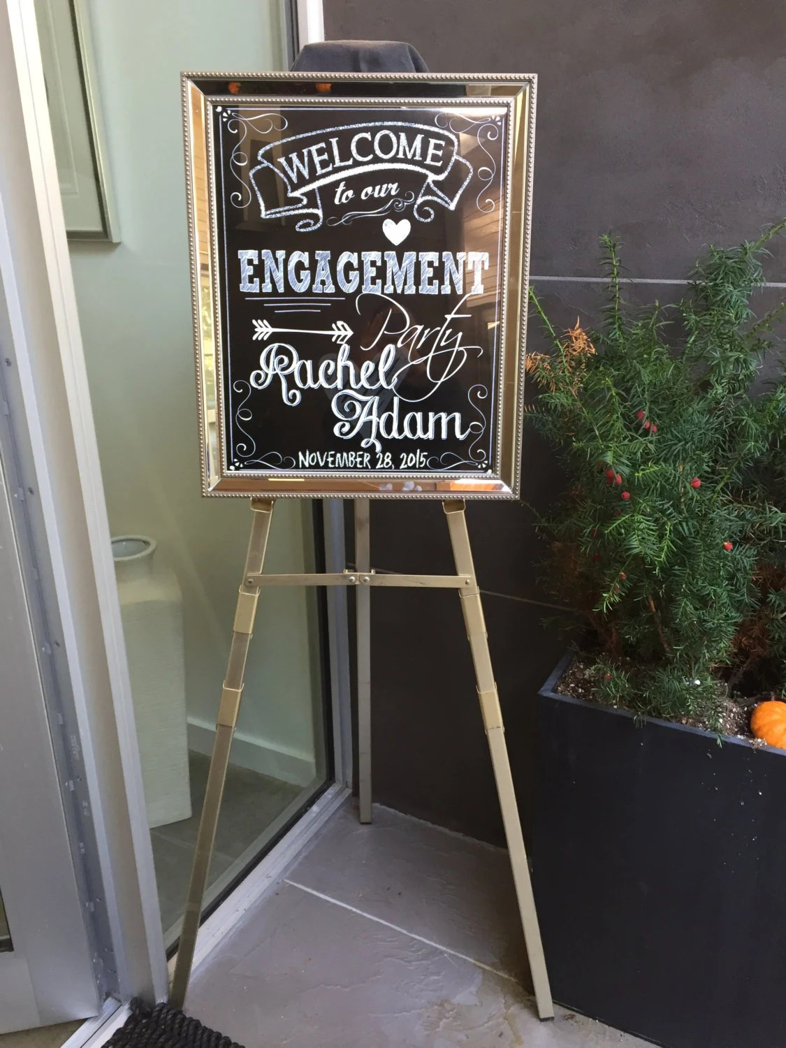Chalkboard Engagement Party Welcome Sign welcome to our