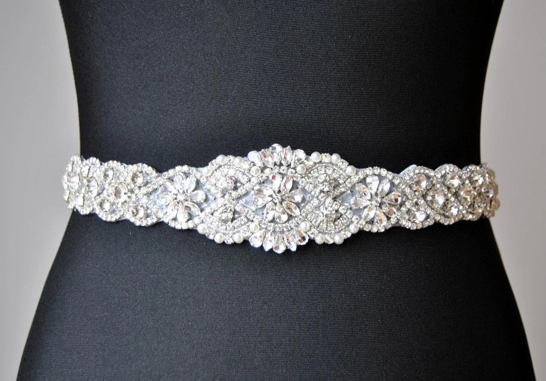 SALE 34 Wedding Dress Sash Belt Luxury Crystal Bridal