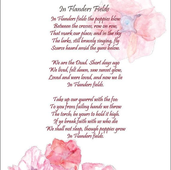 In Flanders Fields Printable 85 X 11 Remembrance Day