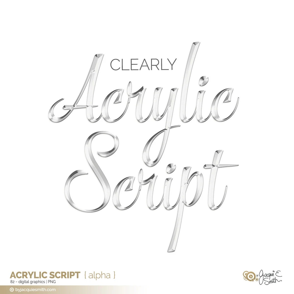 Clear Acrylic Script: Digital Scrapbooking Alpha