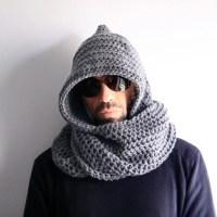 Mens hood scarf mens infinity scarf mens winter hood mens