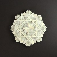 Book Paper Wreath Origami Art Wall Sculpture Black & White