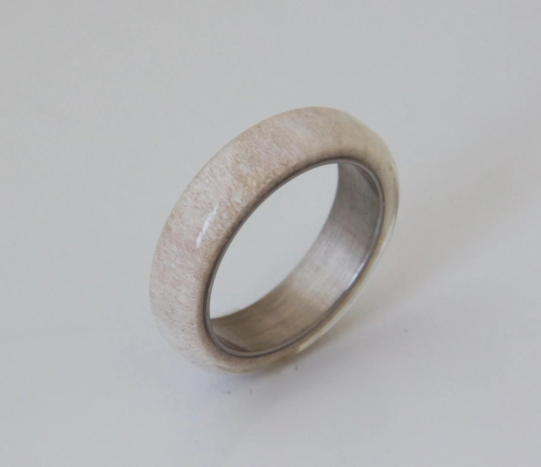 Antler Ring SIZE 95 Titanium Ring Titanium Wedding Band Deer