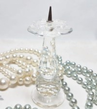 Swarovski Silver Crystal Candle Holder European Pin Style