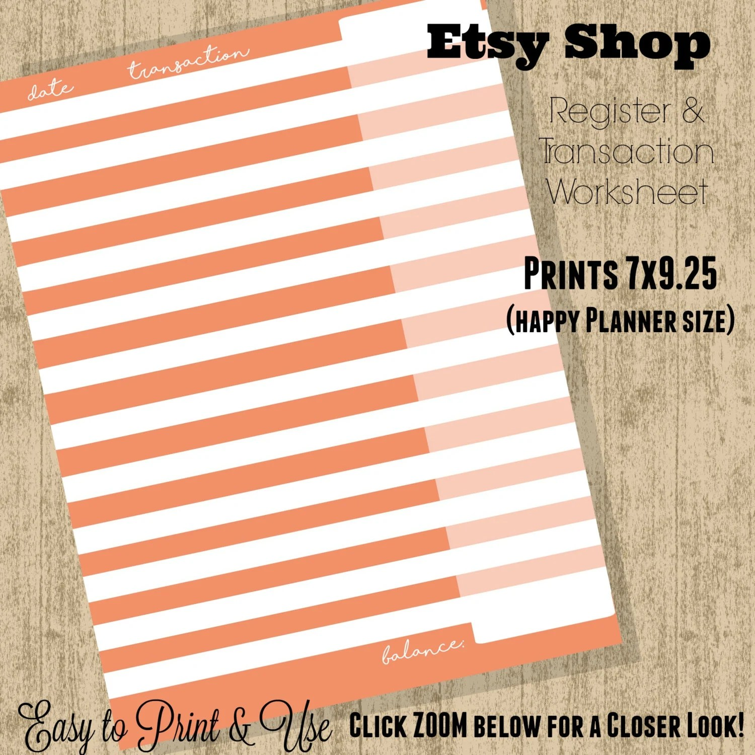 Weekly Etsy Shop Register And Transaction Worksheet