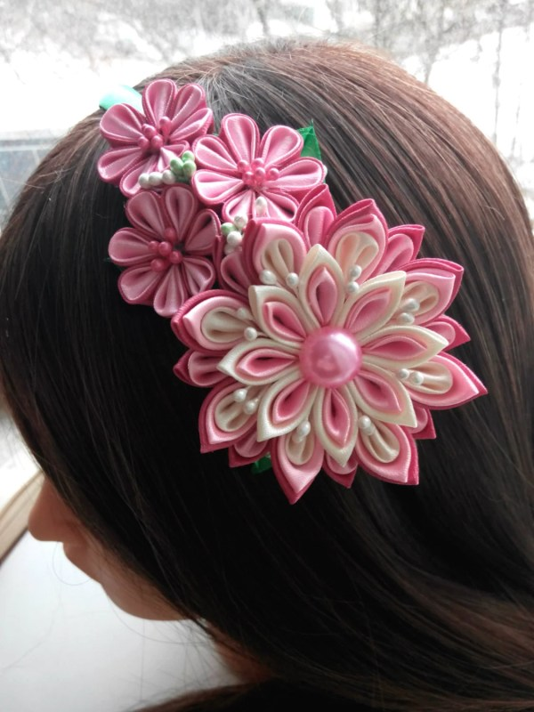 Kanzashi Headband Fabric Flower Hairband Head Band