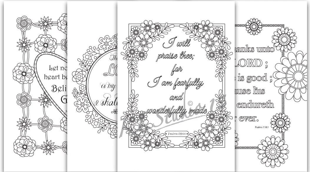 Set of 5 Bible Memory Verse Coloring Pages for Kids Instant