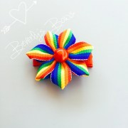 handmade rainbow flower hair bow