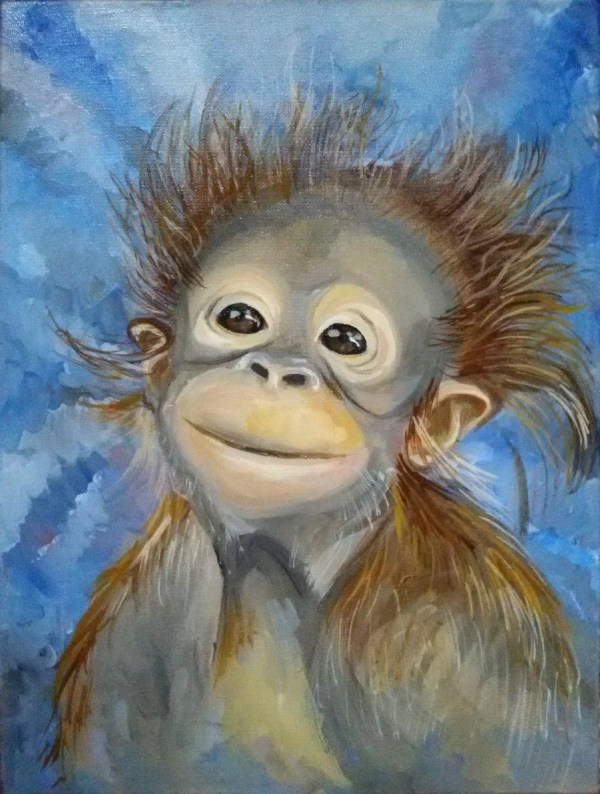 Monkey Original painting Oil painting art oil The painting