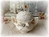 Shabby Chic Vintage Sugar Bowl Pin Cushion & Hand Made Stick