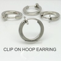 Clip on hoop earring Silver clip on earring Men's