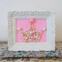 Princess Crown. Pearl Crown Mosaic Art. Pastel Pink Crown