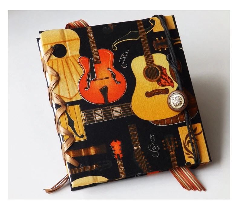 Notebook or journal for music lovers with guitar textile pattern, Blank Book, Sketchbook