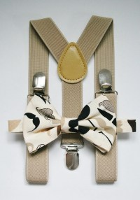 Little boys mustaches bow tie and suspenders set. Tan brown