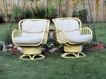 High End Rattan Swivel Rocking Chairs Pair Vintage Bamboo