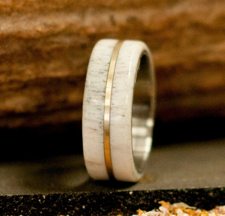 Mens Wedding Band Elk Antler Titanium Wedding By