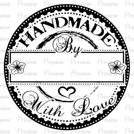 Handmade With Love Digital Stamp Rubber Made Clipart Line PNG