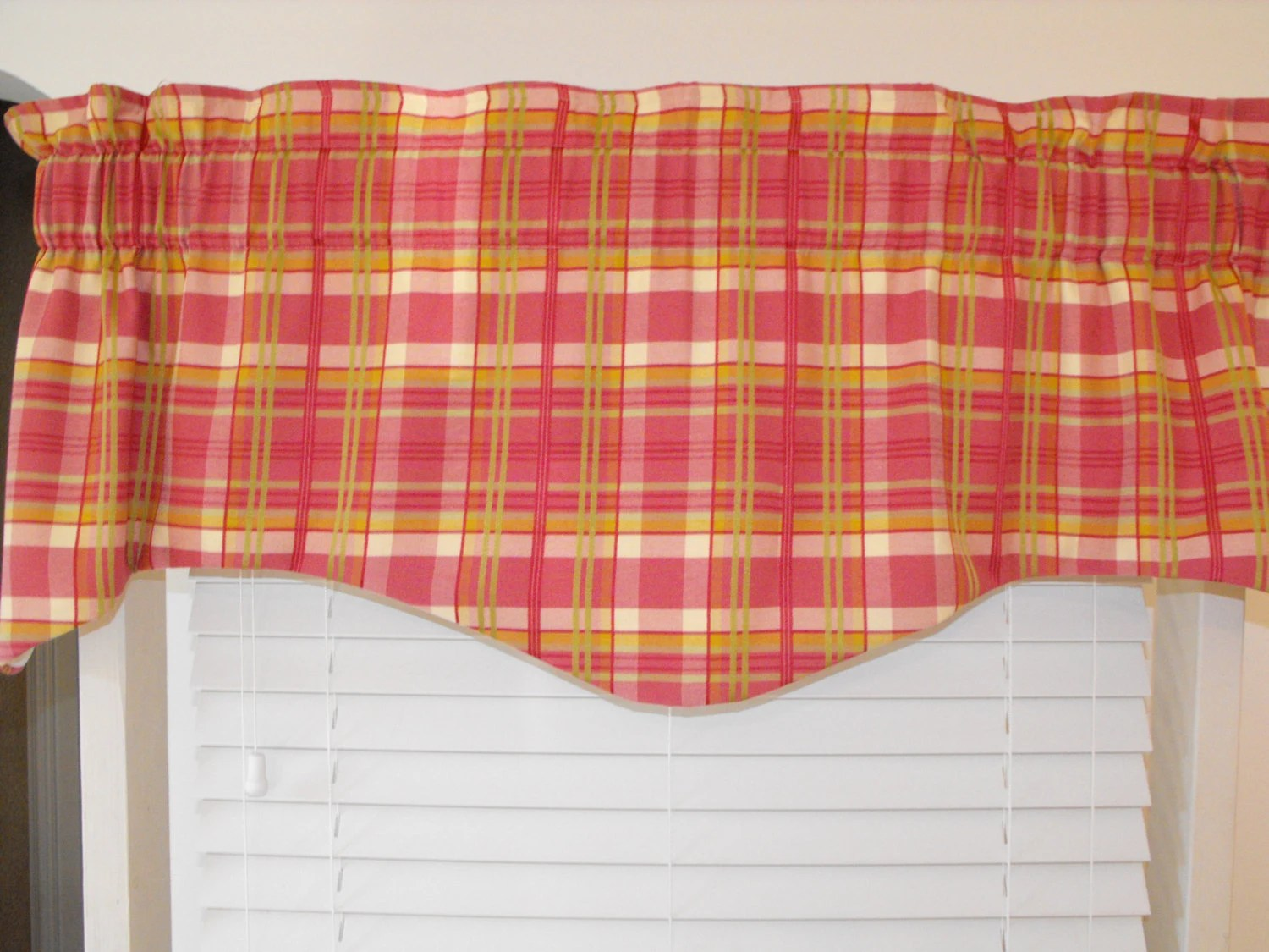 Plaid Valance Pink Green Window Valance Shaped Valance