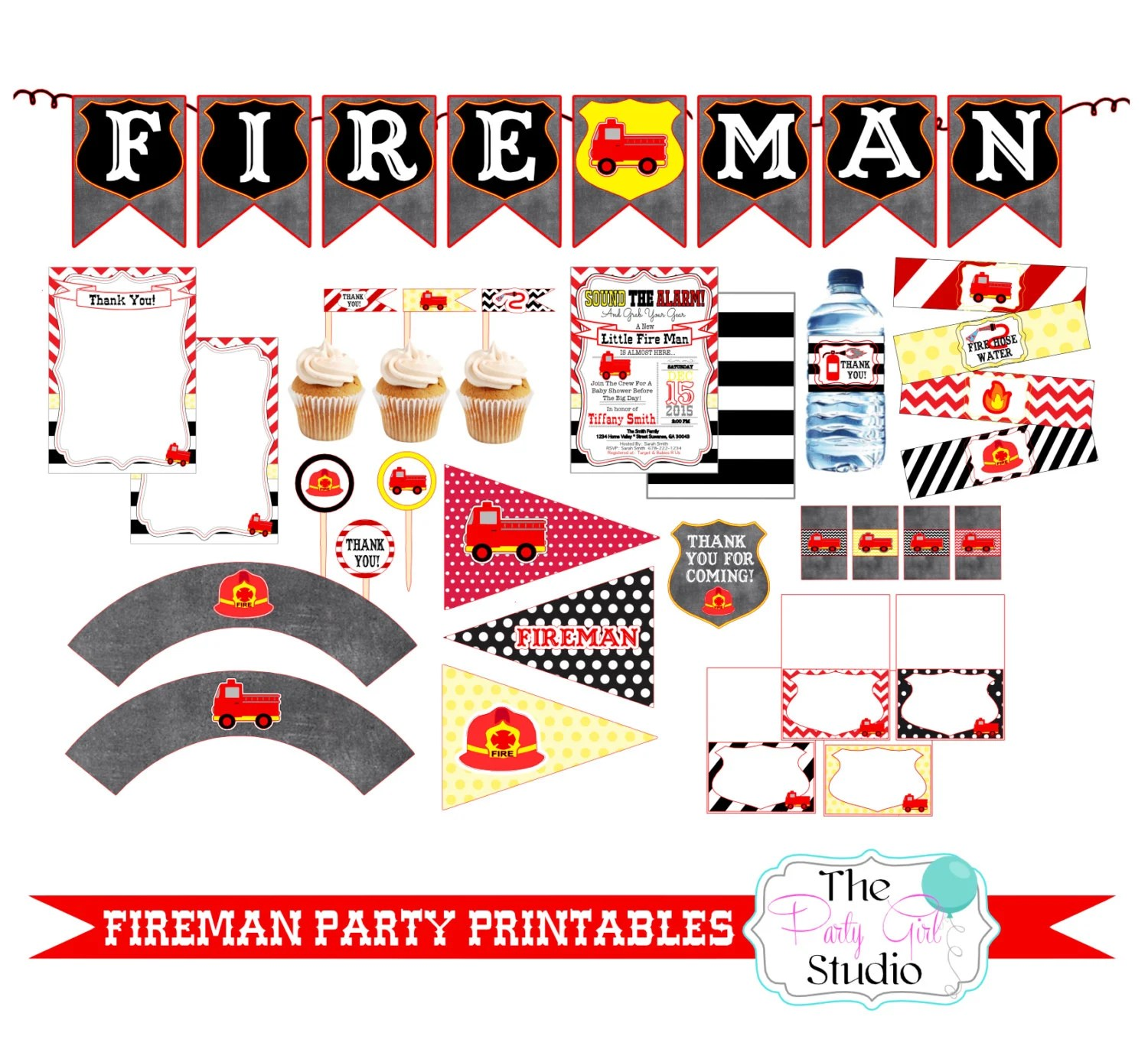 Fireman Party Baby Shower Printables Custom Printable Diy