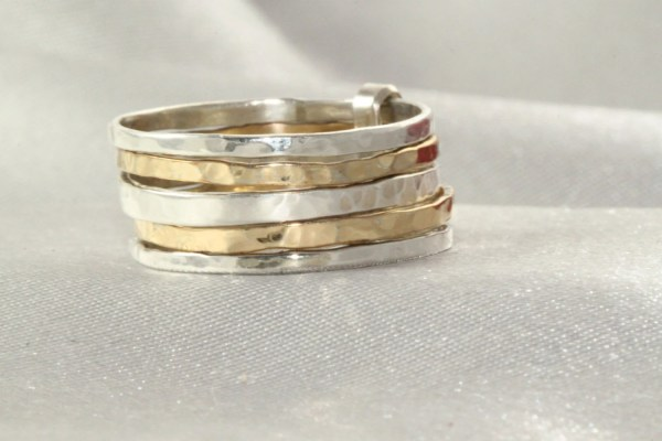 14k Stackable Ring Gold And Silver Ringsset Of 5
