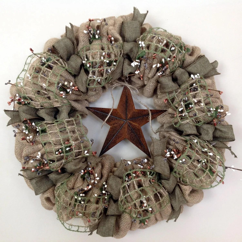 Burlap wreath Primitive Wreath Americana by TranquilitybyAney