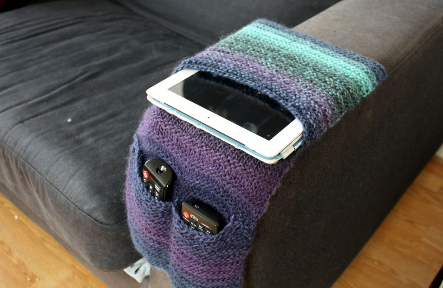 remote holder for chair office seat covers canada control arm sofa caddy knitted