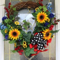 Yellow Sunflower floral front door decor country welcome