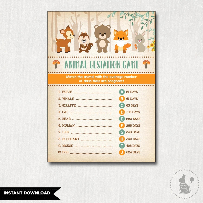 Woodland Baby Shower Game Animal Pregnancy Game Animal