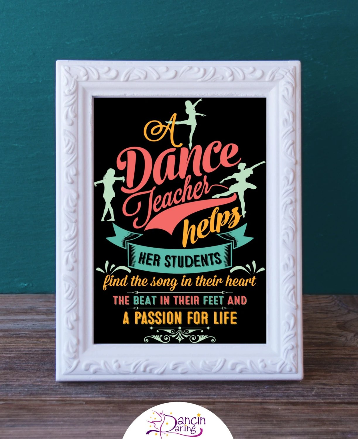 Printable Dance Teacher Gift Dance Recital Present Digital