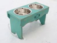 Vintage Style Dog Bowl Holder Elevated Dog Feeder Rustic