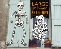 Large Multi Page Printable Skeleton halloween Door or