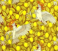 antique french art nouveau wallpaper design cockatoo and