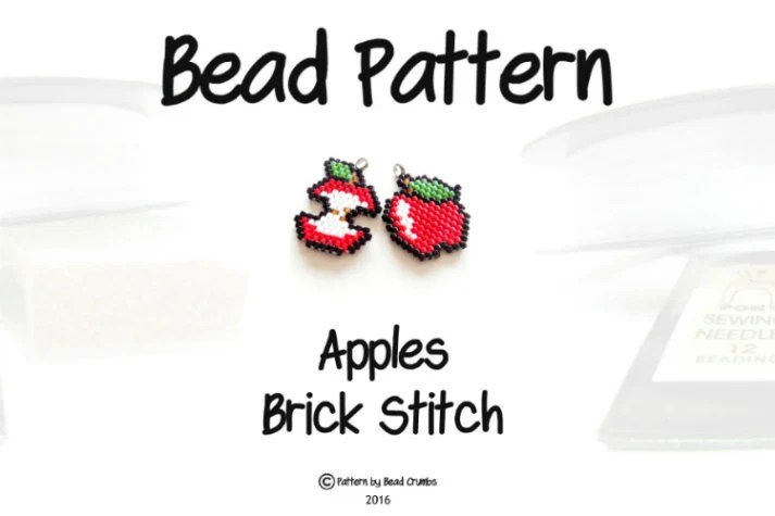Brick Stitch Apples Beading PATTERN Delica Seed Beads