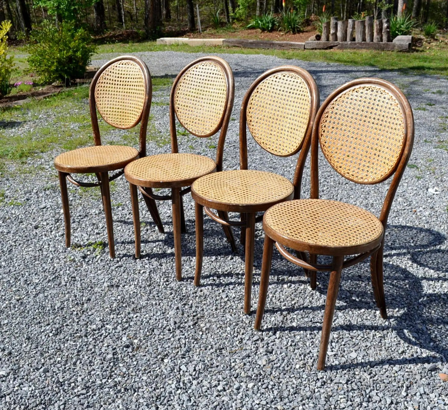 bentwood cane seat chairs aeron chair head rest reserved vintage set of 4 and back