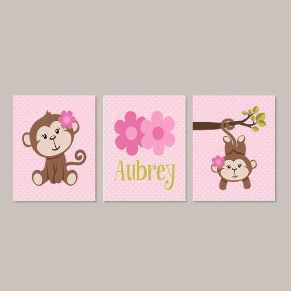 Girl Monkey Nursery Decor Bathroom Wall Art