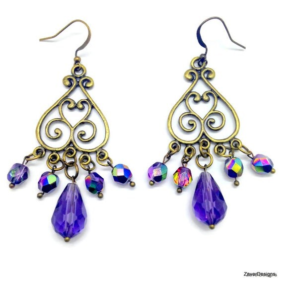Purple Chandelier Earrings Bronze Earrings Purple by