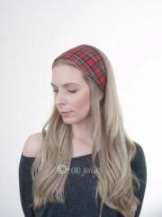 red tartan hair wrap plaid cotton
