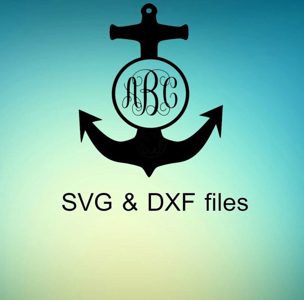 Anchor Monogarm Frame Svg Dxf Files Silhouette Cricut