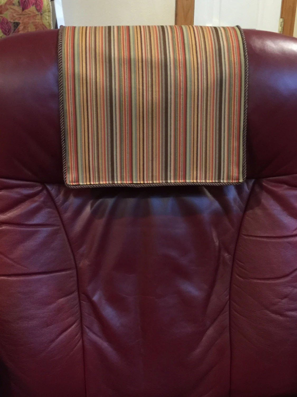 chair covers for headrest pottery barn chairs baby recliner cover striped brown by chairflair