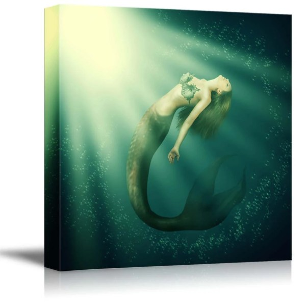 Canvas Prints Fantasy Beautiful Woman Mermaid With Fish Tail