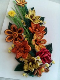 Colorful spring flowers.Quilling art.Quilling wall