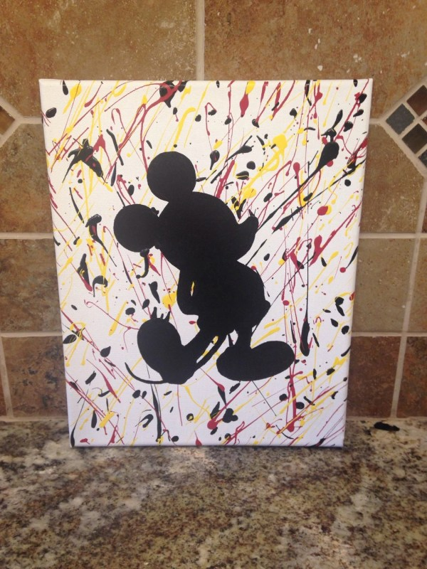 Mickey Mouse Splatter Paint Canvas 8x10 Kreationsbykater