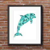 Dolphin Mosaic Printable Wall Art Turquoise Beach Print