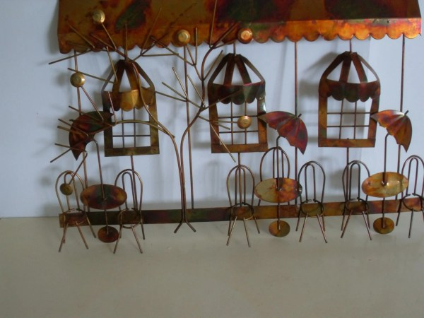 Vintage Copper Metal Wall Art French Cafe
