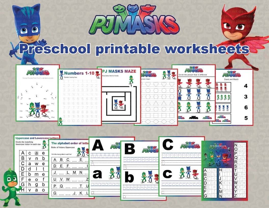 Instand Dl Pj Masks Preschool Printable Worksheets Package