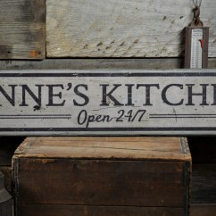 Wooden Signs For Kitchen Faucets Open 24 7 Wood Sign Personalized Chef Name