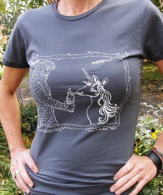 Sasquatch  Unicorn Womens Graphic Tee by VIVASWEETLOVE