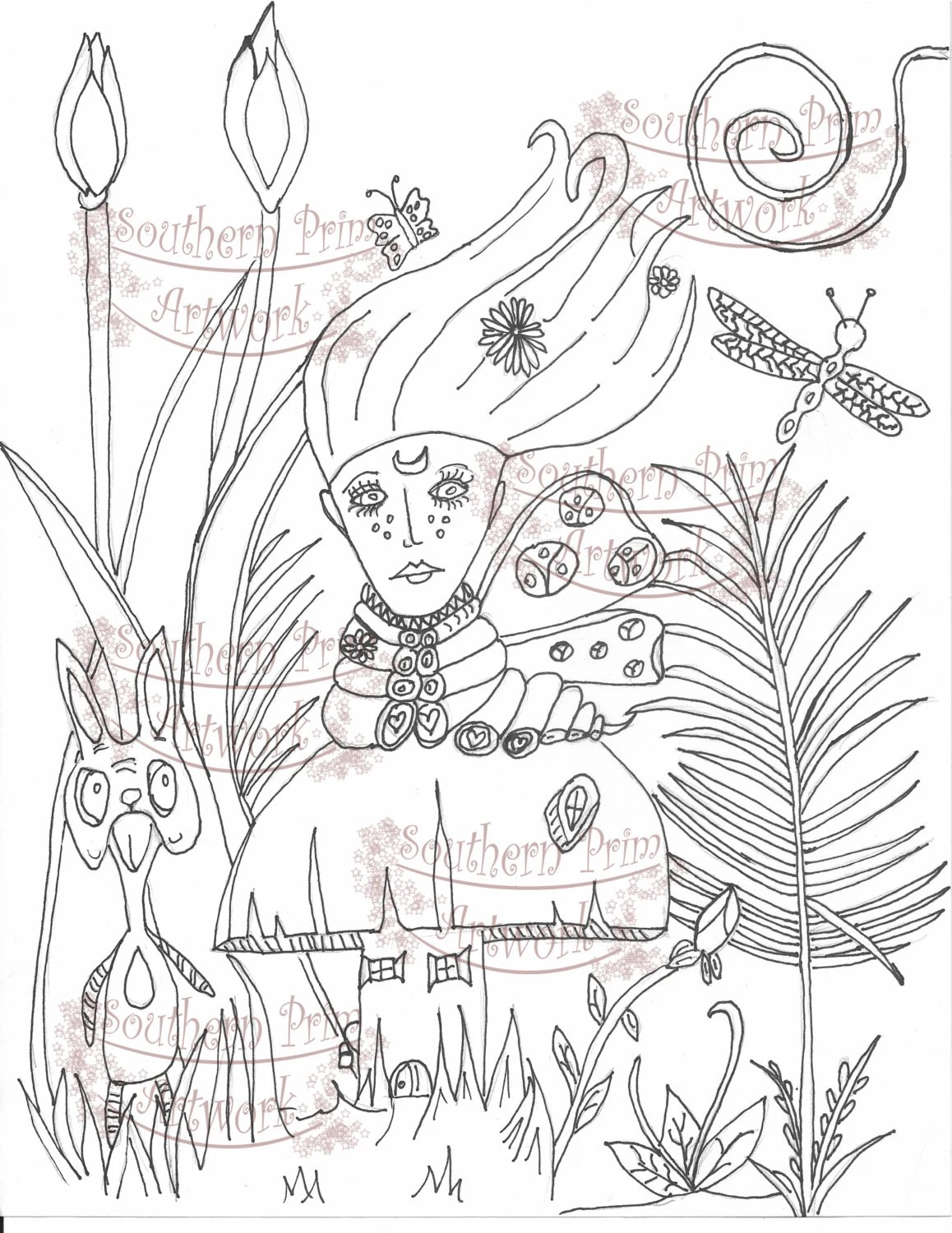 Fantasy Caterpillar Alice in Wonderland Adult Coloring Page