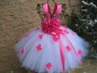 Pink Tutu Flower Girl Dresses White Background